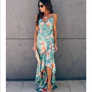 VICI Nikita Tiered Ruffle Wrap Maxi Dress